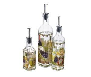 Italian Wine & Cheese Design Glass Oil / Vinegar Bottle With Pourer Lid (Small - one supplied)