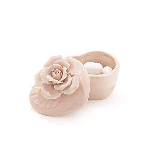 Scatola forma cuore in materiale ceramica-portaconfetti bomboniere fiore elegante regalo tavolo matrimonio (rosa)