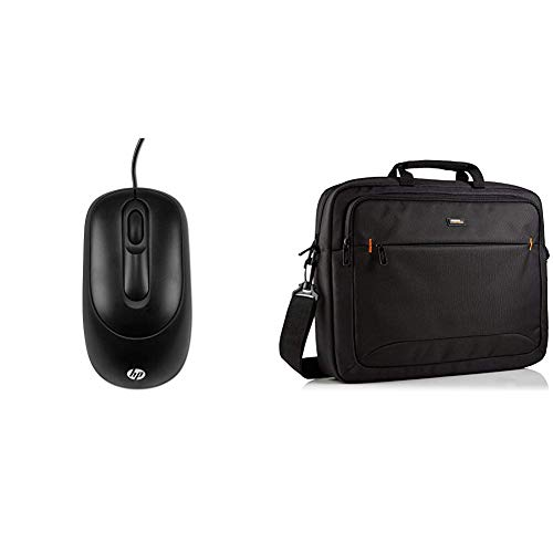 HP X900 (V1S46AA) Maus mit Kabel (1.000 DPI, 3 Tasten, Scrollrad, USB) schwarz & AmazonBasics NC1406118R1 Laptop-Tasche, für eine Bildschirmdiagonale von 44cm (17,3Zoll) Schwarz (Hp Wired Computer-maus)