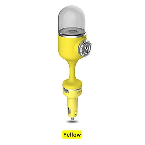 Gaeruite Auto Aroma Diffusor Luftbefeuchter / KFZ-Ladegerät Luftbefeuchter - 2.1A Auto Ladegerät Aromatherapy Luftbefeuchter Auto Luftreiniger Ätherisches Öl Diffusor Dual USB Port Schnellladung (Yellow) (Dual-aroma-Öl)