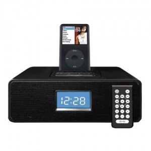 Limit Alarm Clock Radio Speaker With iPod/Iphone Docking Station + MP3 Link - Black