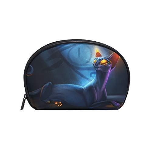 Twill Make-up Bag Small Shell Form Kulturbeutel Reisespeicher für Frauen Katzen Magical Night Tail (Tail-mix-katze)