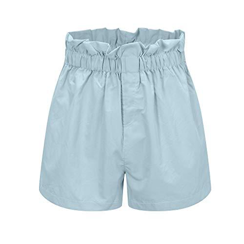 KUDICO Damen Sommer Shorts|Elastische Taille Kurze Hose|Einfarbig Strandhosen mit Tasche|Sport Lässige Lose Hot Pants (Blau, L)