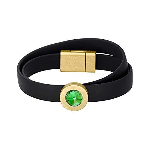 Heideman Armband Damen Colori Band schwarz-Gold 1 Fach aus Edelstahl schwarz und Gold farbend matt Armkette für Frauen mit wechselbaren Swarovski Kristall Peridot und Weiss oder bunt (Peridot Und Gold-armband)