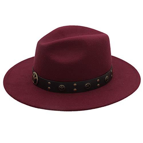 MTX-Sonnenhüte Hut, Winter Herbst Nachahmung Woolen Frauen Männer Damen Fedoras Top Jazz Hut Europäischen Amerikanischen Runde Caps Bowler Hut (Farbe : Weinrot, Größe : 56-58cm)
