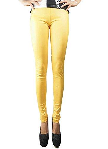 BOZEVON Donna PU pelle Colore solido Skinny Elastico Pantaloni Matita Casuali Leggings Moda Eleganti Pantaloni stretti sottili, nero / blu / rosso / verde Oro