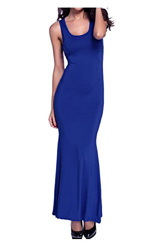 Beaii Damen Sommerkleid Rückenfrei Langes Abendkleider Elegant Maxikleider Ärmellos Blau