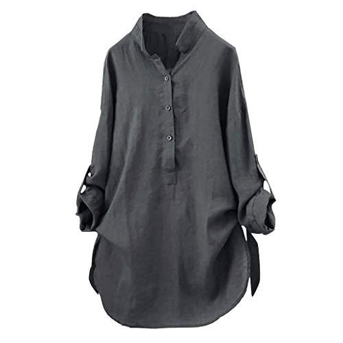 OverDose Damen Herbst Freizeit Stil Frauen Baumwolle Solid Langarm-Shirt beiläufige lose Bluse Beach Party Button-Down-Tops Pullover(Grün,EU-40/CN-S ) -