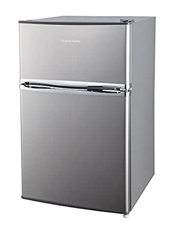 Russel Hobbs RHUCFF50SS Stainless Steel Effect Wide Under Counter Freestanding Fridge Freezer, 50 cm