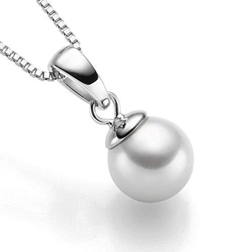 Sam Bellamy Damen Silber-Kette mit Geschenk-Set | Halskette aus 925 Sterling Silber | Frauen Schmuck mit Anhänger Swarovski, 45cm - 50cm (Perle) - Perlen-anhänger