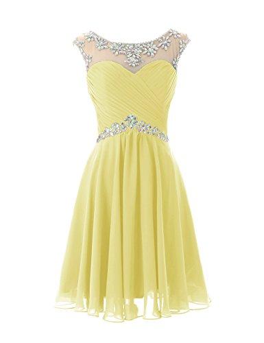 Dresstells A-ligne robe de soirée de cocktail en mousseline courte longueur genou Gris