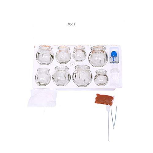 Hjd-Massagegerät Haushalt 8/16 Dosen Glas Vakuum Schröpfen Schröpfen Glasflasche Set dick und langlebig Schröpfen Gesundheit Massage Ausrüstung (Größe : 8) (Glas-kopfhaut-massagegerät Elektrisches)