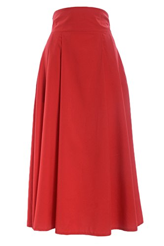 Röcke Damen Boho Plissee Retro Maxi Rock Elastisch Bund Kleid Party Frauen Lang Rock Rot Rot