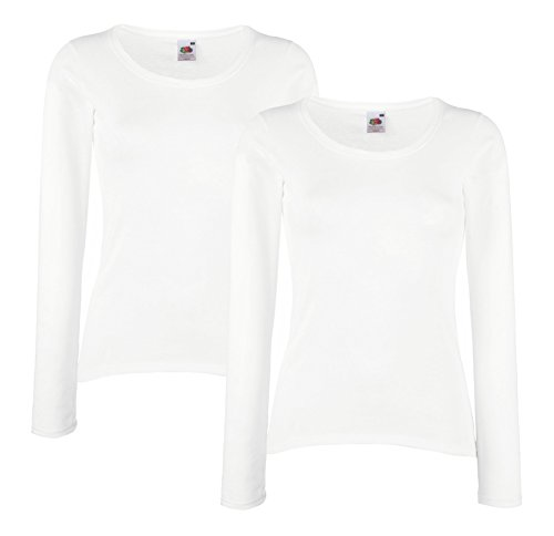 Fruit of The Loom Lady-Fit Valueweight T LSL Damen Sweatshirt Langarm Shirt Doppelpack (M, Weiß)