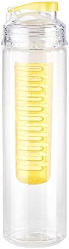 Rosenstein & Söhne Trinkflasche mit Einsatz: Trinkflasche, Wasserflasche mit Fruchtbehälter, Tritan, BPA-frei, gelb (Trinkflasche mit Aromaeinsatz)