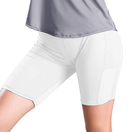 Xmiral leggings donna fitness corti Pantaloncini da yoga a tre punte con vestibilità attillata e attillati L bianca