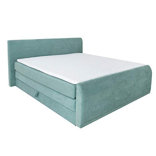 Riess Ambiente Boxspringbett Sacramento 180x200 cm Mint inkl. Bettkasten, Matratze und Topper Doppelbett Bett