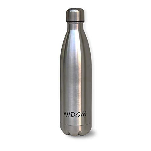 Nidom Bottiglia d'Acqua 750ml, in Acciaio Inox | Riutilizzabile Borraccia Sportiva per Scuola, Yoga, Bici, Palestra, Sport, Ufficio