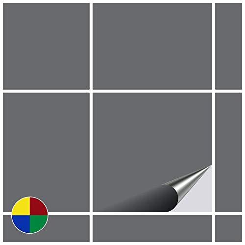 FoLIESEN Fliesenaufkleber für Bad und Küche - 15x15 cm - Silbergrau matt - 80 Fliesensticker für Wandfliesen