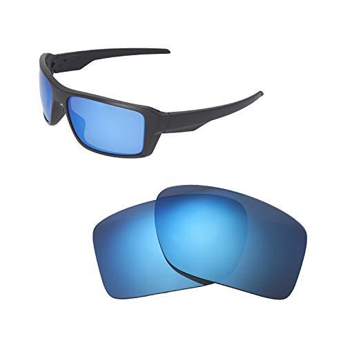 Walleva Ersatzgläser für Oakley Double Edge Sonnenbrille - Verschiedene Optionen erhältlich, Unisex-Erwachsene, Ice Blue Coated - Polarized, Einheitsgröße