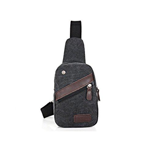 Modakeusu da uomo, petto borsa a tracolla a tracolla borsa in tela vintage, Coffee Black