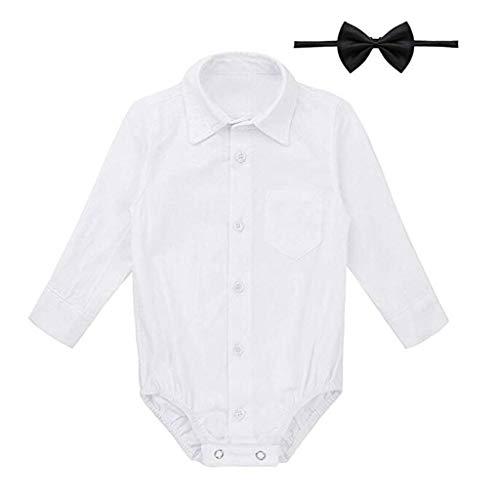 Knowin-baby body Formelle Hemden Gentleman Romper Bodysuit Hochzeitsfest-Outfits Kurzarm Hemd mit Abnehmbarer/Langarmbody Junge/Jersey-Qualität/weiß Baby Einfarbig Kurzarmhemd + Fliege Zweiteilig