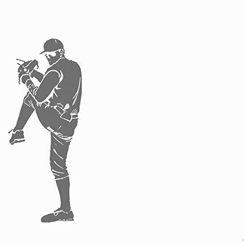 Obanban Baseball Pitcher Action Softball Sport Grau Groß Wandtattoo Wanddeko Wohnzimmer Schlafzimmer -