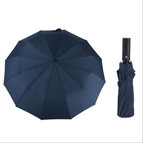 Mhsm Regenschirm, groß, faltbar, Regenschirm, für Herren, automatischer Regenschirm, Winddicht, gestreift, 12 Rippen, Marineblau