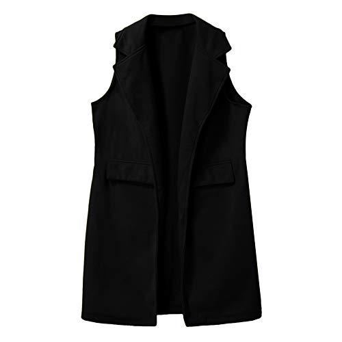 FRAUIT Blazer Mujer Trajes sin Mangas Color Sólido Solapa Chaqueta de Traje Negocios Oficina Casual...