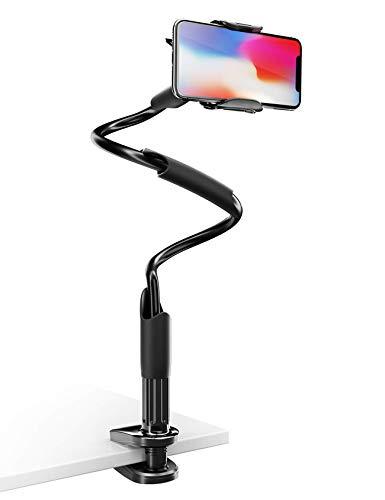 Lamicall Lazy Handy Halter, Schwanenhals Handy Halterung für Bett : Gooseneck arm 360 Clip Holder Klemm Stand für Phone 11 Pro Xs Max XR X 8 7 6 Plus, Samsung S10 S9 S8 S7 S6 und 4-6,5 Zoll - Schwarz