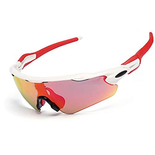 Daesar Motorradbrille in Sehstärke Schutzbrille Beschlagfrei Sportbrille Nacht Weiß Rot
