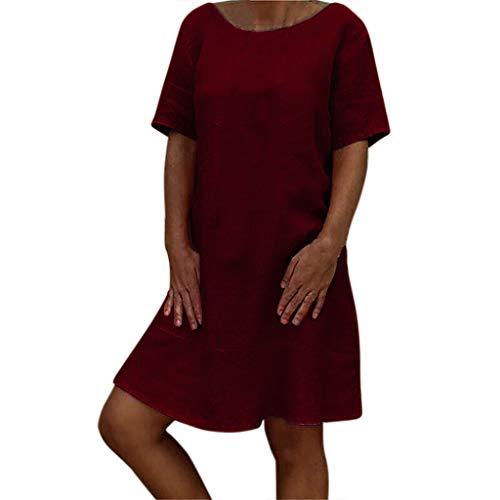 Wtouhe Robe Midi Femme, Soie Glacée Soiree Robe Manche Courte 2019 D'été Mode Couleur Unie Femmes Neck O T-Shirt Mini Cocktail Vintage pour Femmes en Vrac Aux Genoux Le Bas Lâché Robe S-3XL