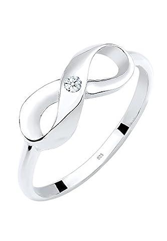 DIAMORE Ring Infinity Unendlichkeit Diamant 0.03 ct. 925 Sterling Silber Weiß Gr. 52 (0,03 Ct Diamant-set)