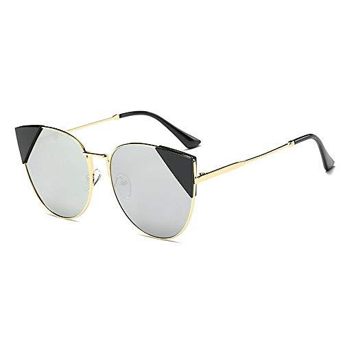 XHCP Frauen Polarisierte Klassische Pilotenbrille, Nette Katzenaugen Unregelmäßige Sonnenbrille Für Frauen Metallrahmen Umrandeten UV-Schutz Klassische Übergroße Trendy Lady 's (Farbe: Silber)