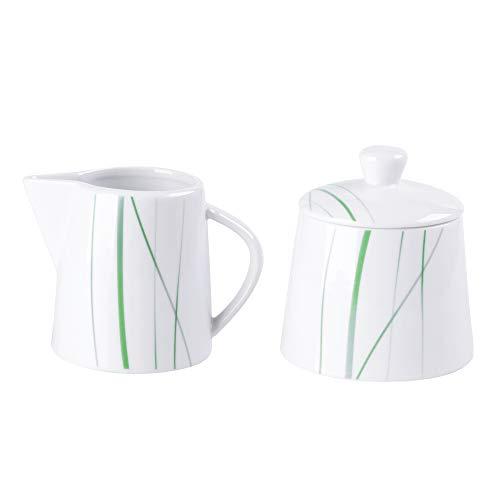 VEWEET, Serie 'Aviva' 2-teilig Porzellan Milch- und Zuckerset, 250 ml Zuckerdose mit eine Deckel, 180 ml Milchkännchen, Ideal für Kaffeeservice und Küche| Ergänzung zum Tafelservice 'Aviva'