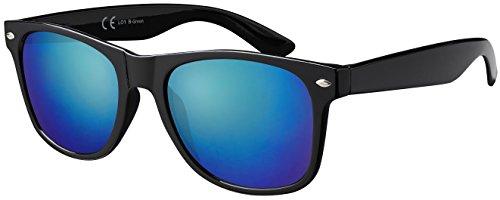 Original La Optica Verspiegelte UV400 Unisex Retro Sonnenbrille - Einzelpack Glänzend Schwarz (Gläser: Grün verspiegelt)