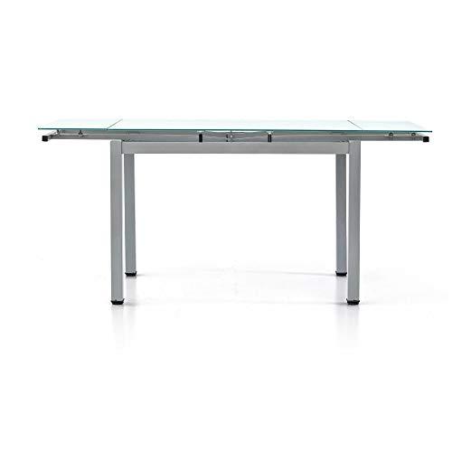 MilaniHome Tavolo da Pranzo Moderno di Design Allungabile Grigio con Piano in Vetro 70 X 100/145/180 per Interno Sala Pranzo Cucina
