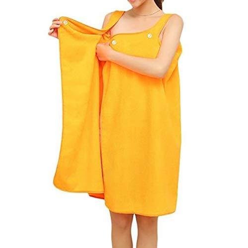 Toalla de Mujer Abrigo Turbante para el Cabello Conjunto Microfibra Suave Usable SPA Ducha Baño Envoltura Sin Tirantes Cubrir Bañarse Vestido de Tubo de Toalla Albornoz con Espalda elástica