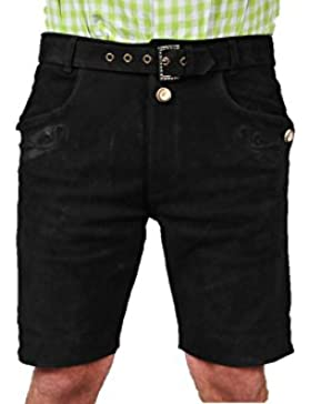 Lederhose mit Gürtel, echt Leder Nubuk Trachten Lederhose Herren kurz, Damen Trachtenlederhose mit Gürtel in Schwarz