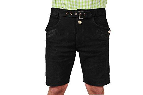 061a88d1e633 Lederhose mit Gürtel, echt Leder Nubuk Trachten Lederhose Herren kurz, Damen  Trachtenlederhose mit Gürtel in Braun (60, Schwarz)