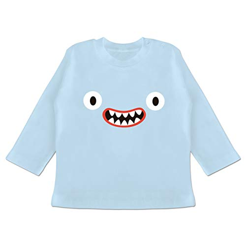 g Baby - Monster Kostüm Reißzähne - 18-24 Monate - Babyblau - BZ11 - Baby T-Shirt Langarm ()