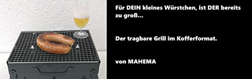 MAHEMA Tragbarer Mini Grill inkl Grillzange Sommer-Modell 2019 Holzkohlegrill BBQ faltbar schwarz Tisch outdoor portable