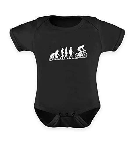 EBENBLATT Fahrrad Evolution Radler Bekleidung Biker Cyclist Kostüm Mountainbike MTB Fahrer Geschenk - Baby Body -0-6 Monate-Schwarz