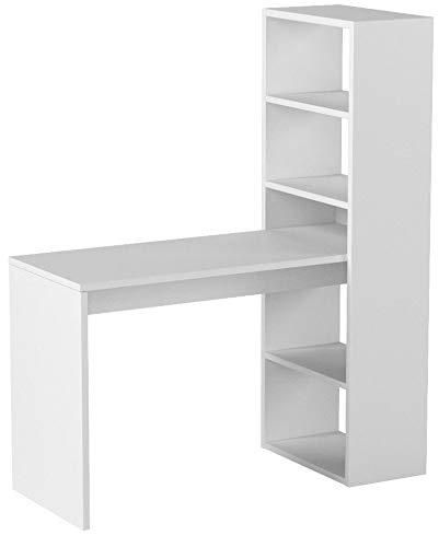 Habitdesign 008314A - Escritorio y estantería reversible, mesa de oficina o escritorio acabada en color Blanco, medidas: 144 x 120 x 53 cm