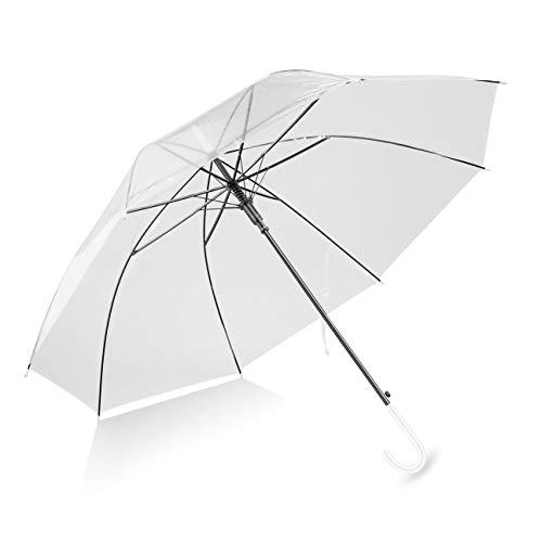 Paraguas a Prueba de Viento, Transparente, Transparente, automático, para el Banquete de Boda, Soporte de adentro hacia afuera, protección contra la Lluvia (Color: Transparente)