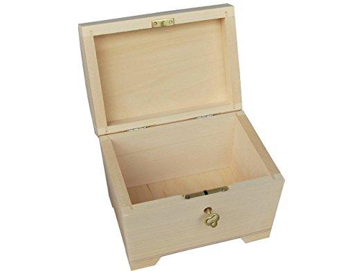 Pequeño madera natural / caja de madera con bisagras - con cerradura PSK10
