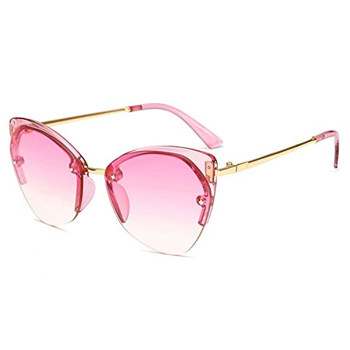 Brillen,Sonnenbrillen,Zubehör,Women Cat's Eye Sunglasses Ladies Half Frame Sun Glasses Men Metal Temple Sunglass Women Marine Lens Eyeglasses Pink