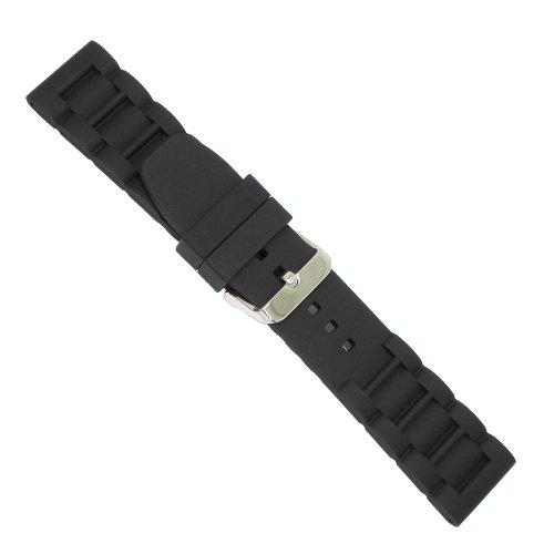 Uhrbanddealer Unisex Uhrenarmband 24mm Ersatzband Silikon Wasserfest Schwarz 49924s - Silikon Uhrenarmband 23mm