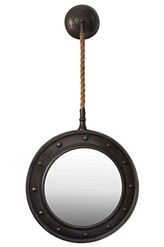 Urban Trends Metall Oval Wandspiegel mit noppigem Rahmen-Design und Metall und Seil Aufhänger gebürstet Gunmetal Grau, Gunmetal Gray -