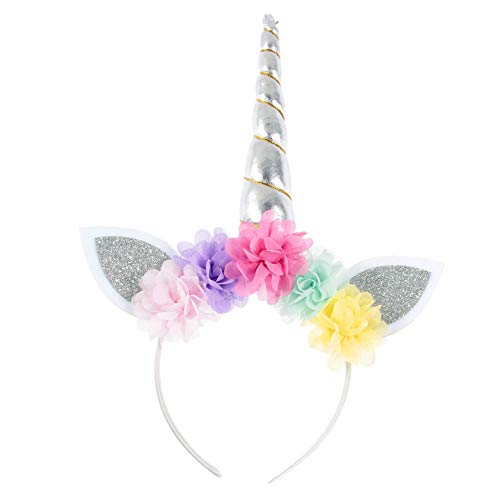 Cupcinu Diadema Unicornio Niña Diadema Flores Banda Para El Pelo Decorativa Para la fiesta de Cumpleaños Decoración Gasa Orejas elfo Party Accesorio (Plata 1)